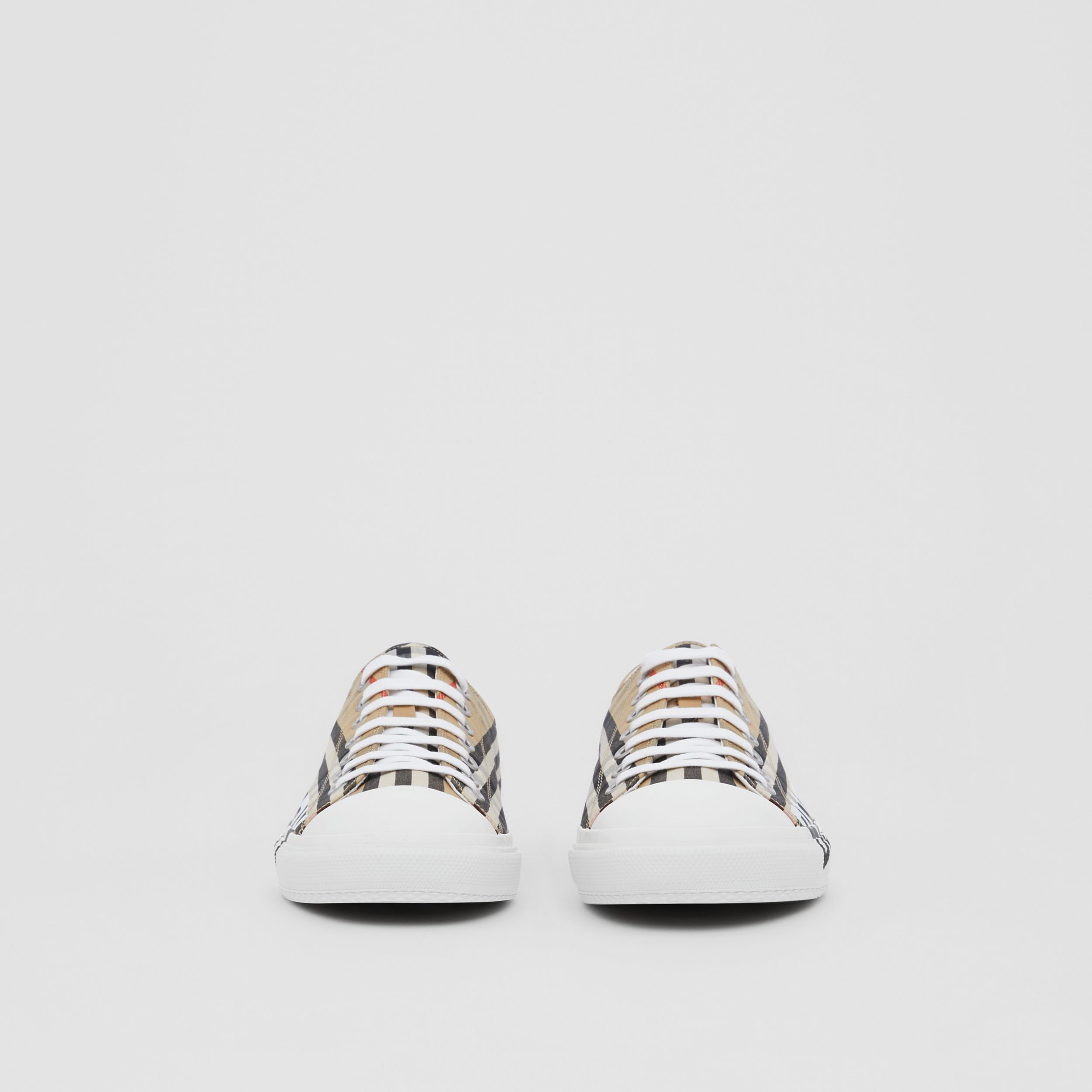 Logo Print Vintage Check Cotton Sneakers in Archive Beige - Men | Burberry - 4