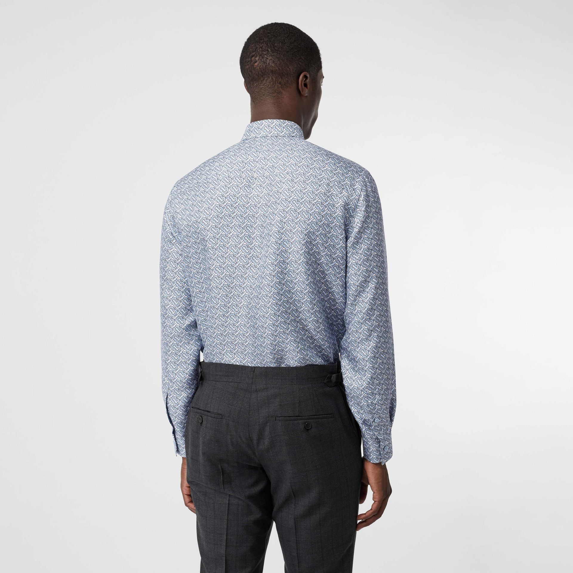 Classic Fit Monogram Print Silk Twill Shirt in Pale Blue - Men | Burberry United States - gallery image 2