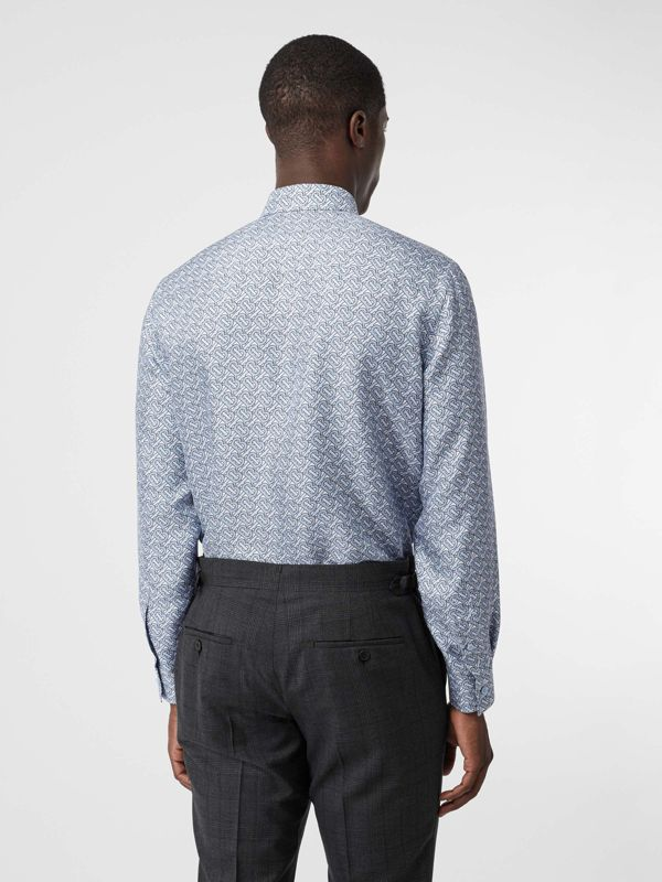 Classic Fit Monogram Print Silk Twill Shirt in Pale Blue - Men | Burberry - cell image 2