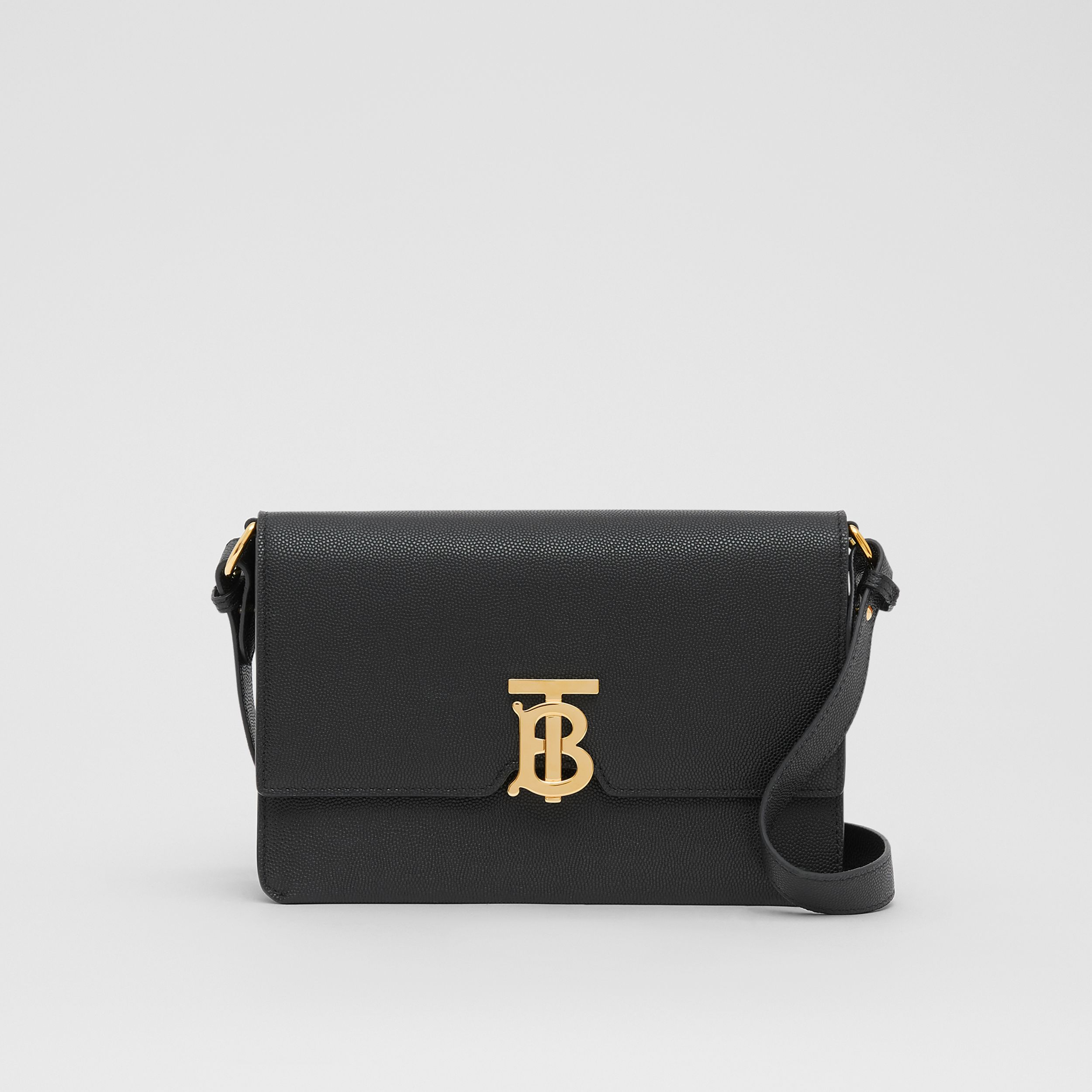 Small Monogram Motif Leather Crossbody Bag in Black - Women | Burberry - 1