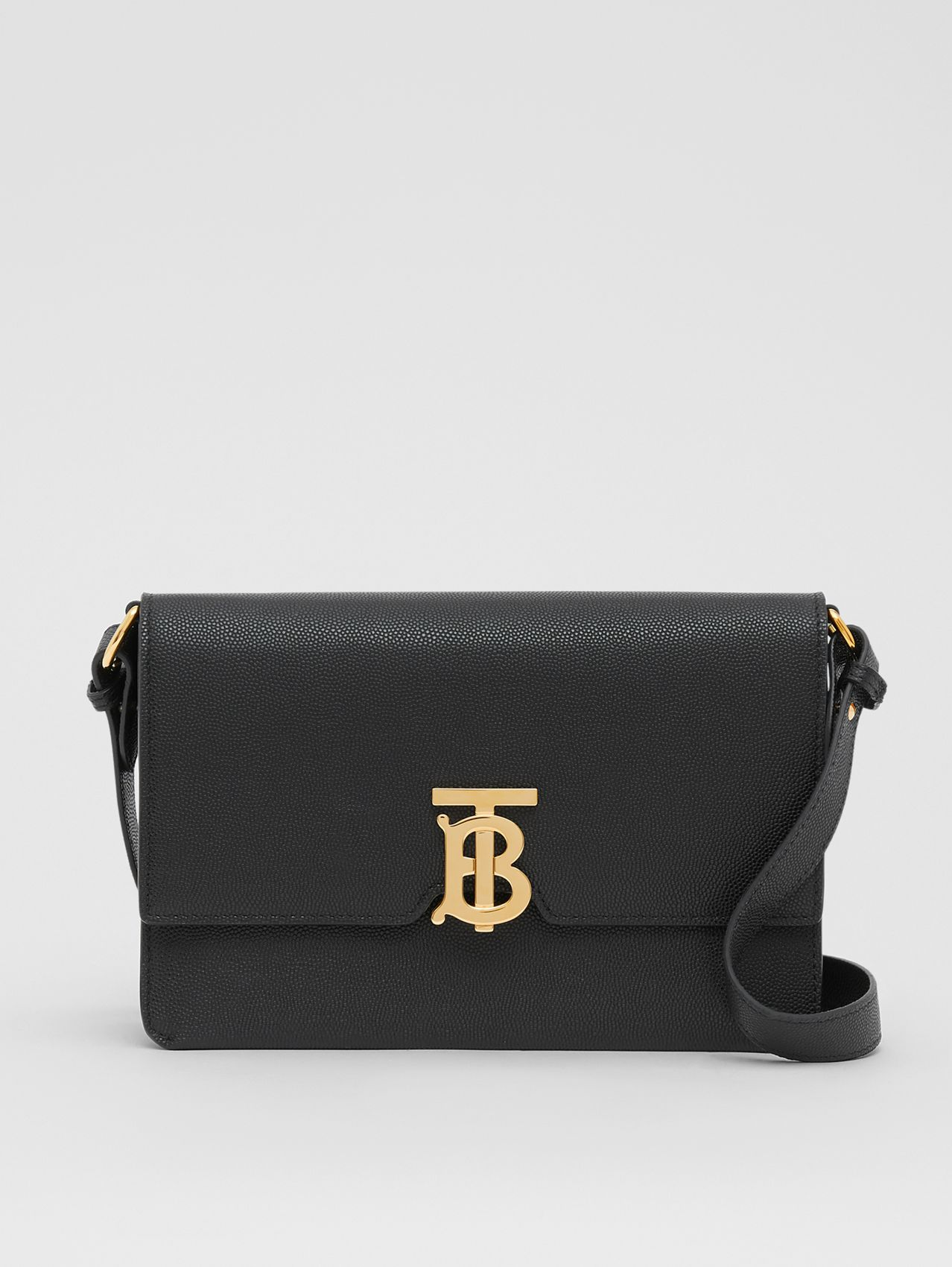 Small Monogram Motif Leather Crossbody Bag in Black