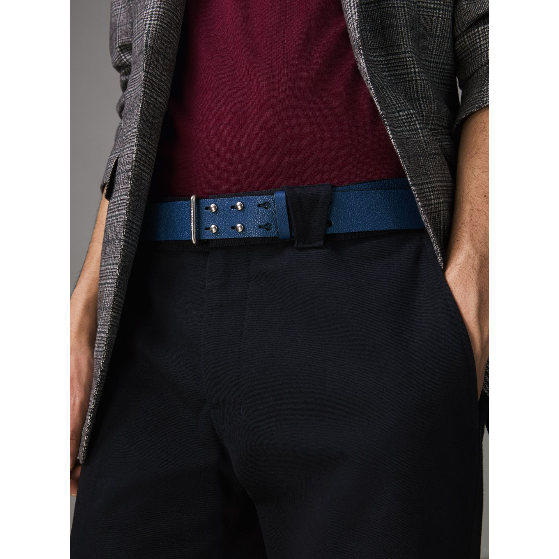 Push-Stud Grainy Leather Belt in Bright Ultramarine - Men | Burberry Australia - gallery image 2