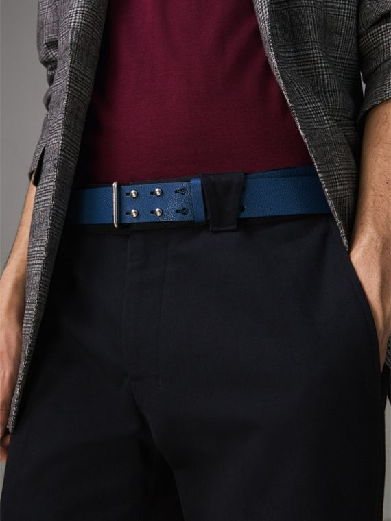 Push-Stud Grainy Leather Belt in Bright Ultramarine - Men | Burberry Australia - cell image 2
