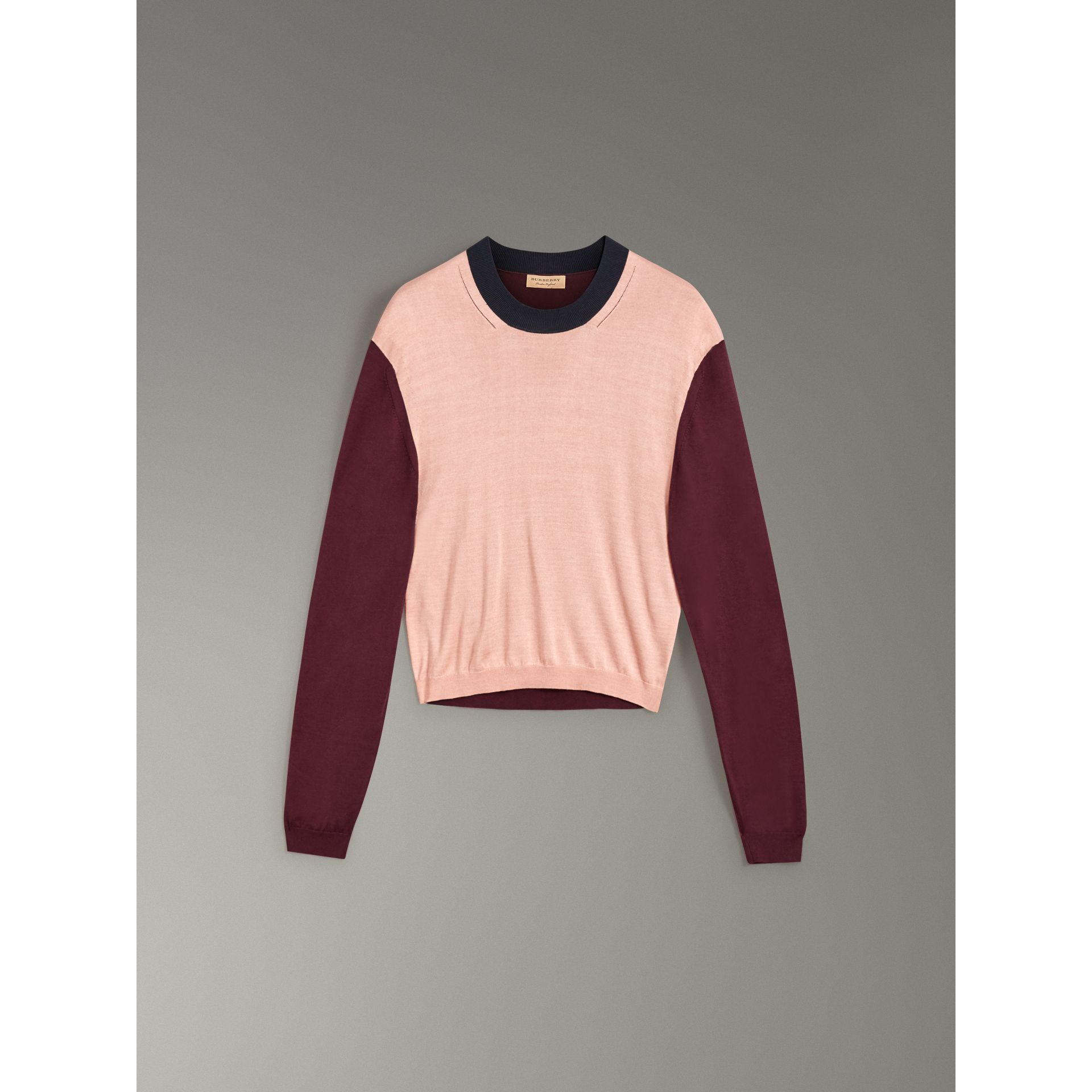 Colour Block Silk Cashmere Sweater in Pink Apricot - Women | Burberry - gallery image 3