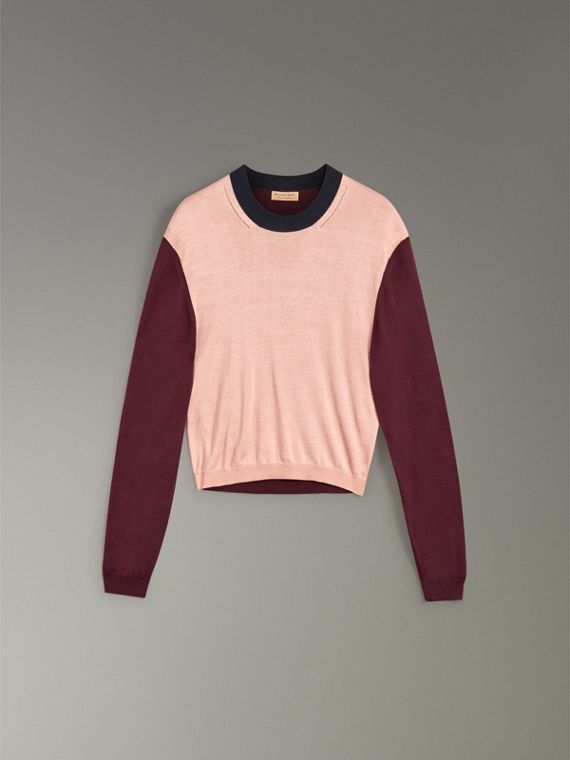 Colour Block Silk Cashmere Sweater in Pink Apricot - Women | Burberry - cell image 3