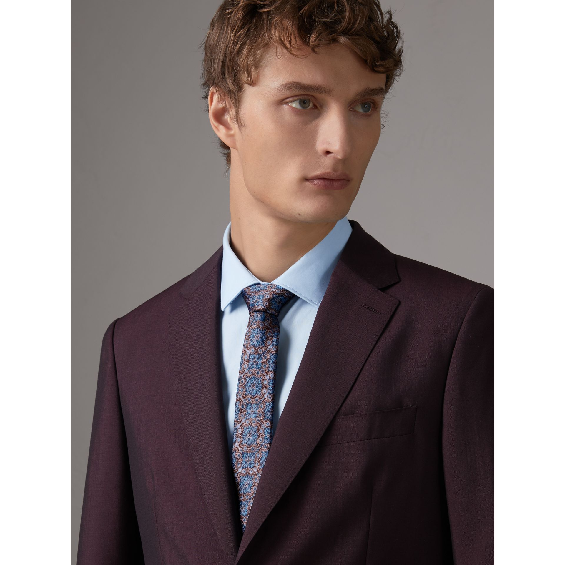 Slim Cut Silk Jacquard Tie in Hydrangea Blue - Men | Burberry Australia - gallery image 3