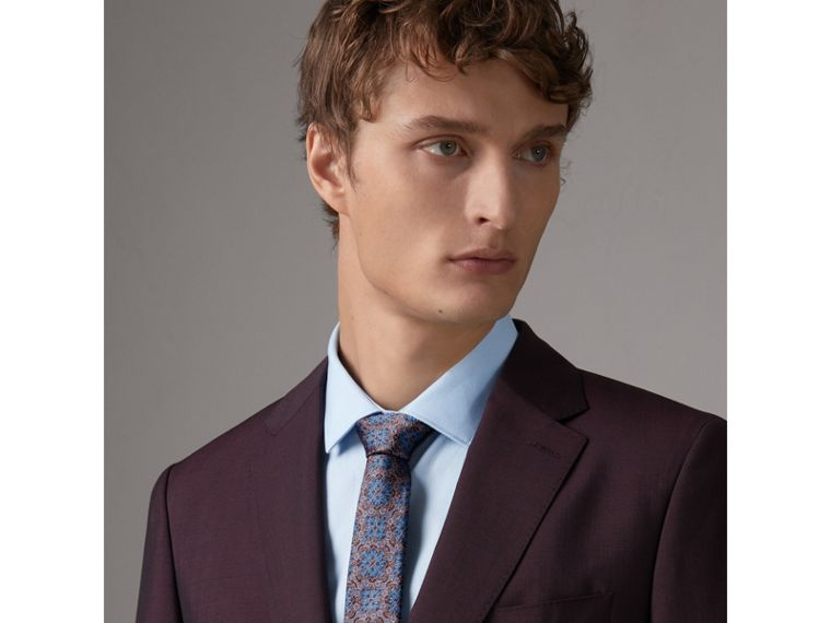 Slim Cut Silk Jacquard Tie in Hydrangea Blue - Men | Burberry - cell image 2