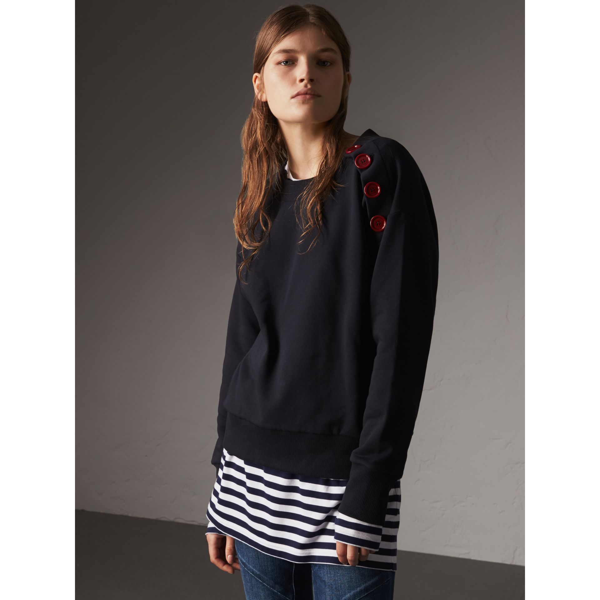 Resin Button Cotton Sweatshirt in Navy - Women | Burberry - gallery image 1