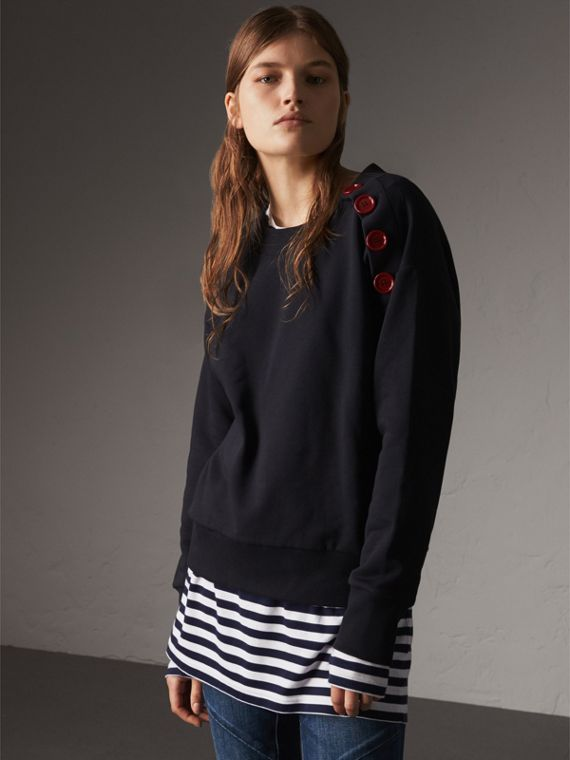 Resin Button Cotton Sweatshirt in Navy