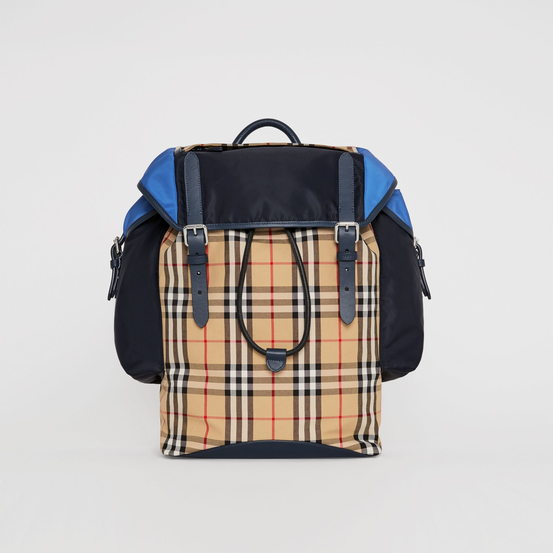 Colour Block Vintage Check and Leather Backpack in Navy - Men | Burberry - gallery image 0