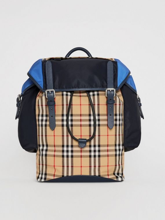 Lederrucksack im Vintage Check- und Colour-Blocking-Design (Marineblau)