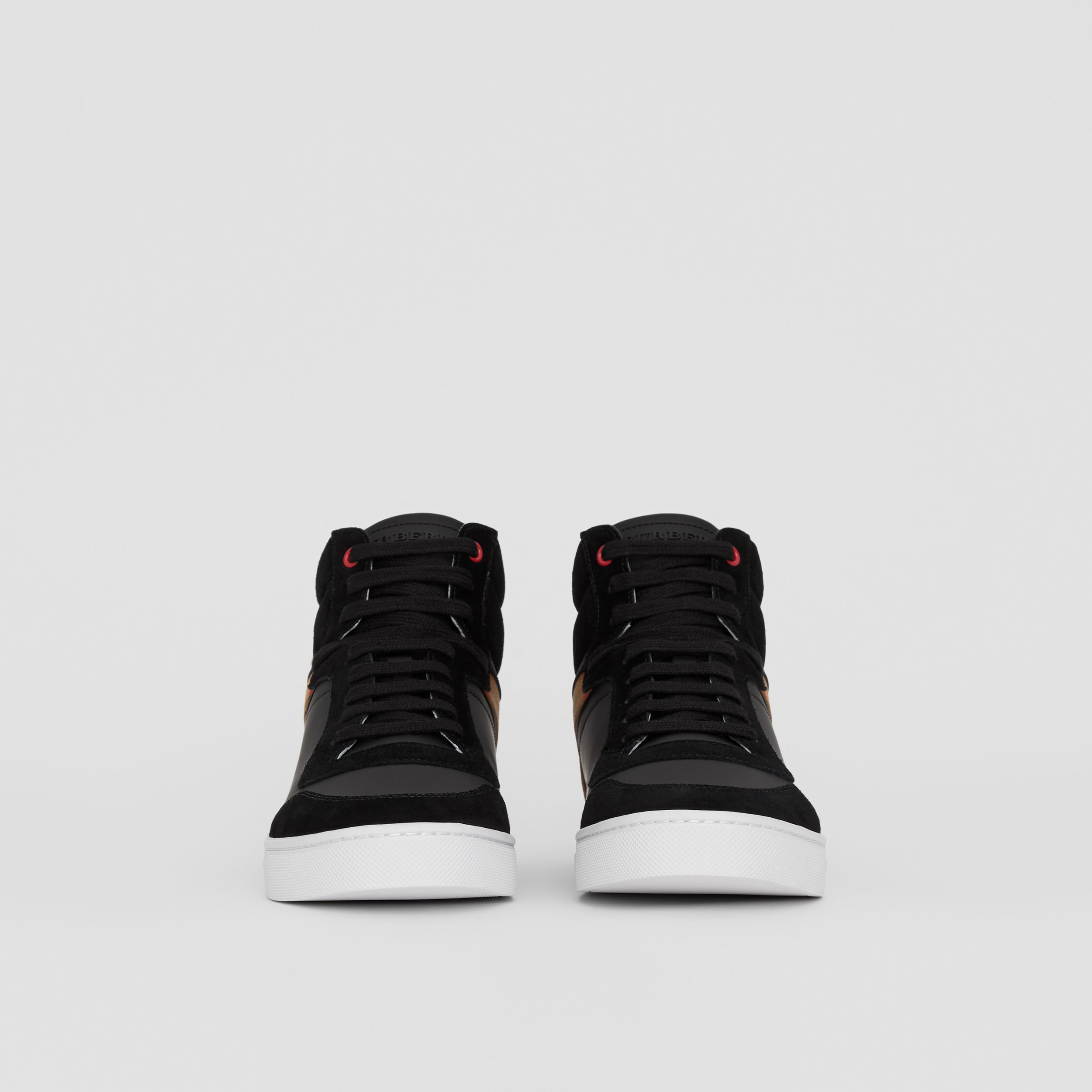 Leather and House Check High-top Sneakers in Black - Men | Burberry - 4