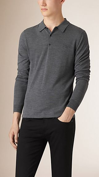 Long-sleeved Knitted Merino Wool Polo Shirt