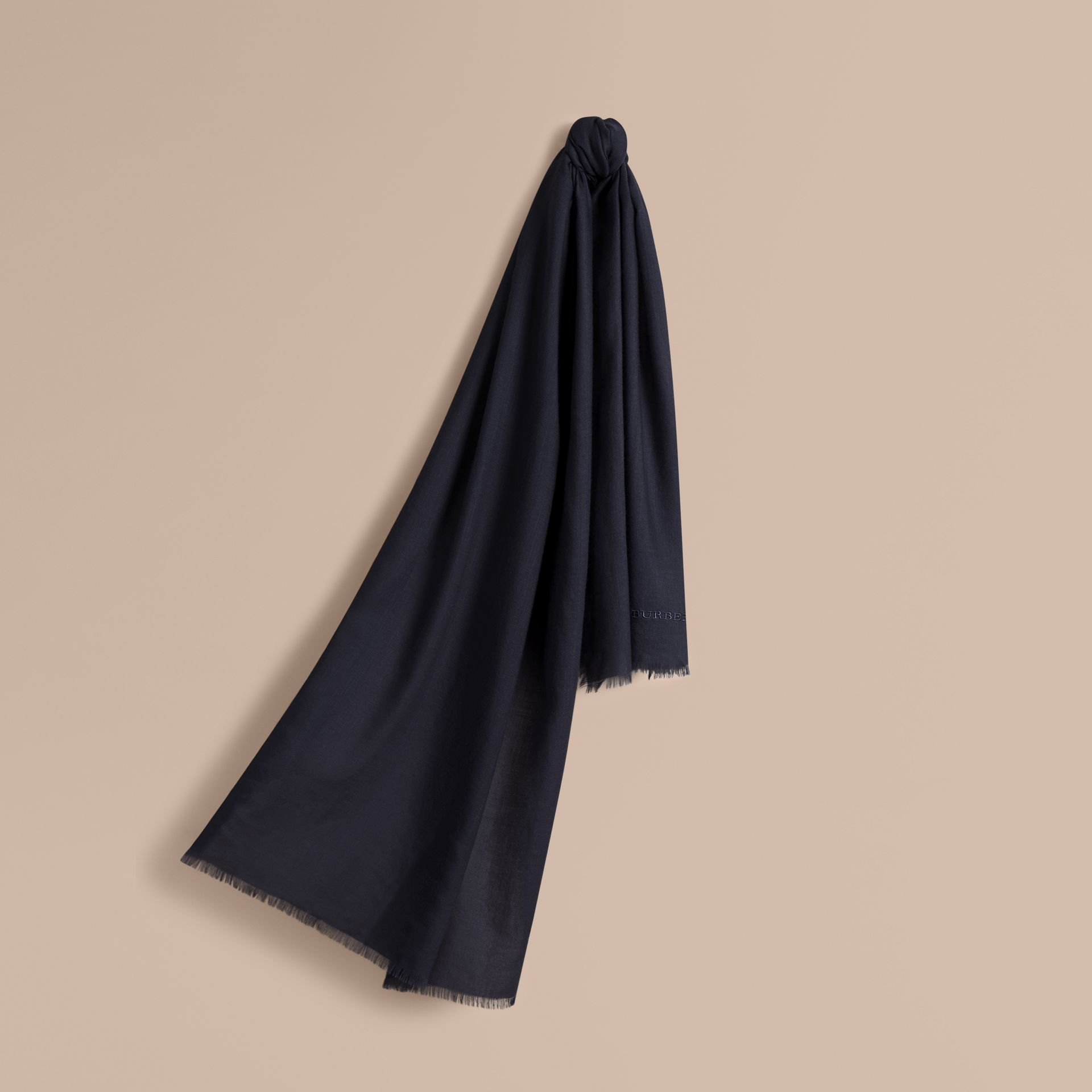 The Lightweight Cashmere Scarf in Navy - gallery image 6