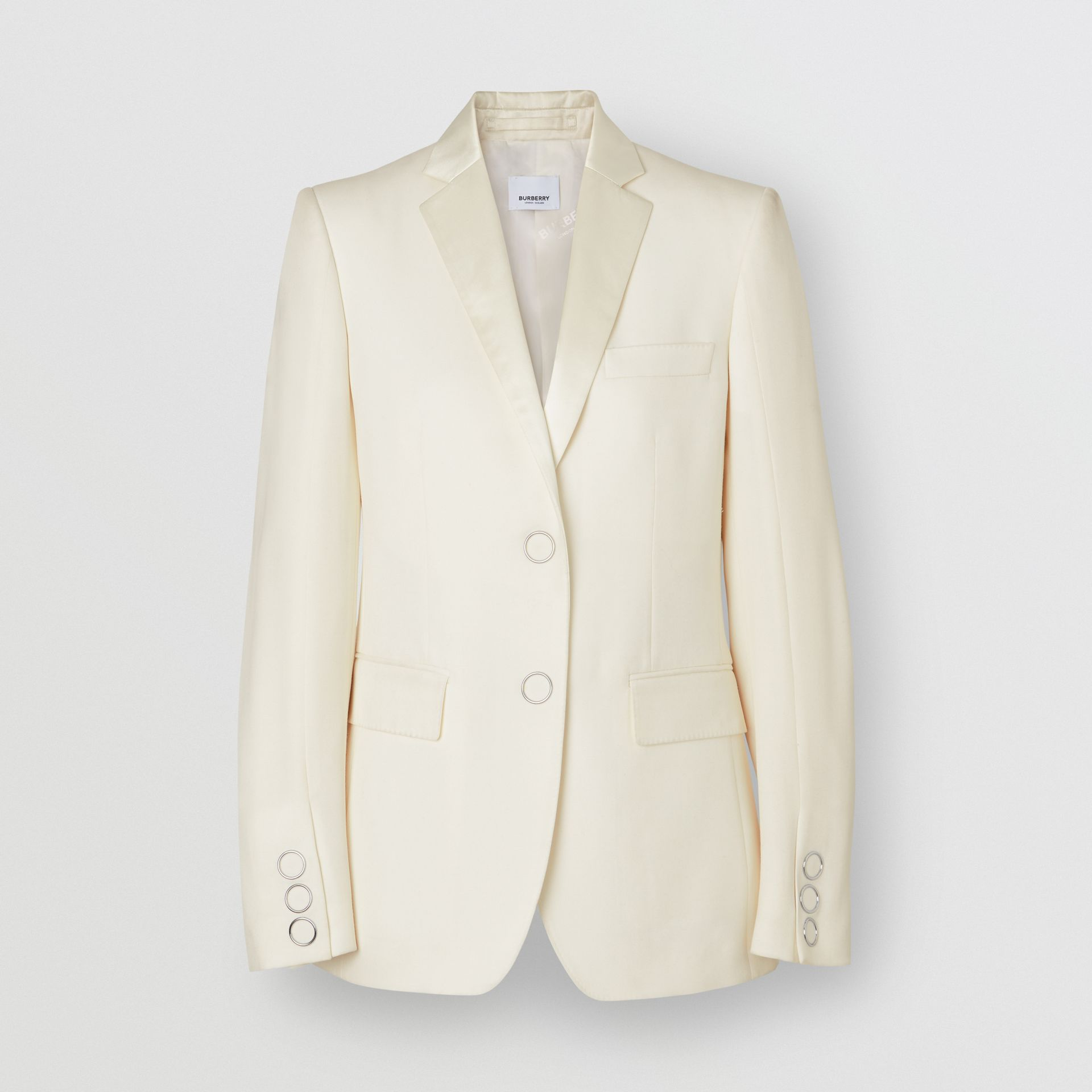 Silk Trim Press-stud Wool Tailored Jacket in Natural White - Women | Burberry Australia - gallery image 4