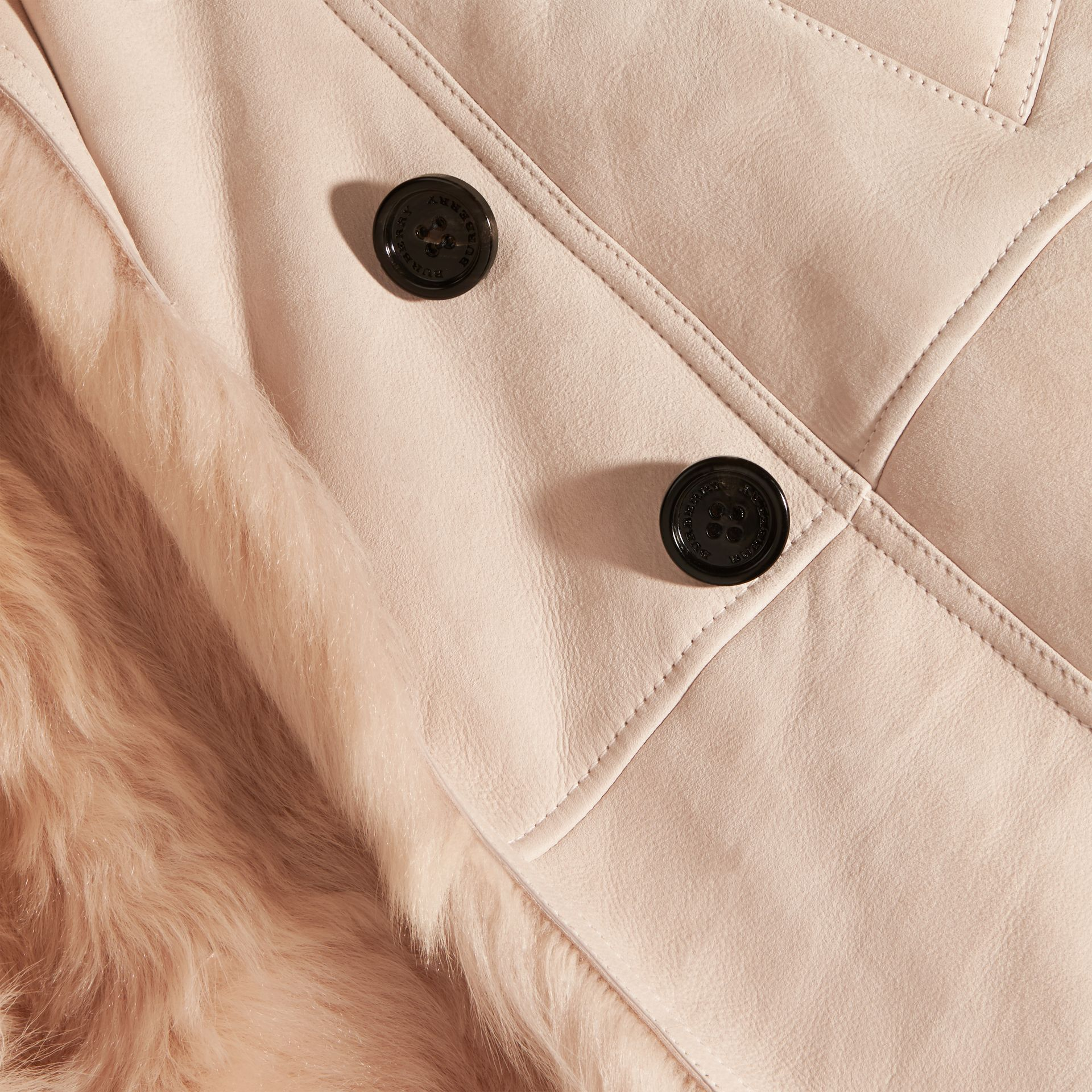 Chalk pink Shearling Trench Coat Chalk Pink - gallery image 2