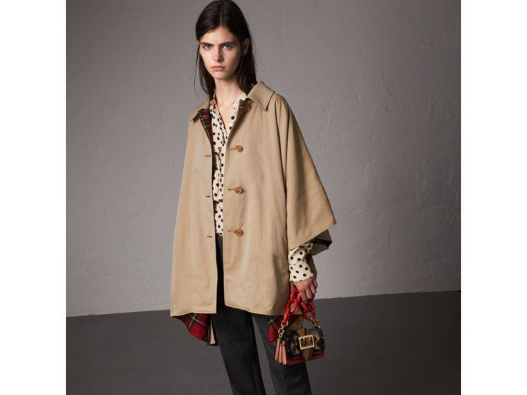 Tartan-lined Tropical Gabardine Cape in Honey - Women | Burberry United States - cell image 4
