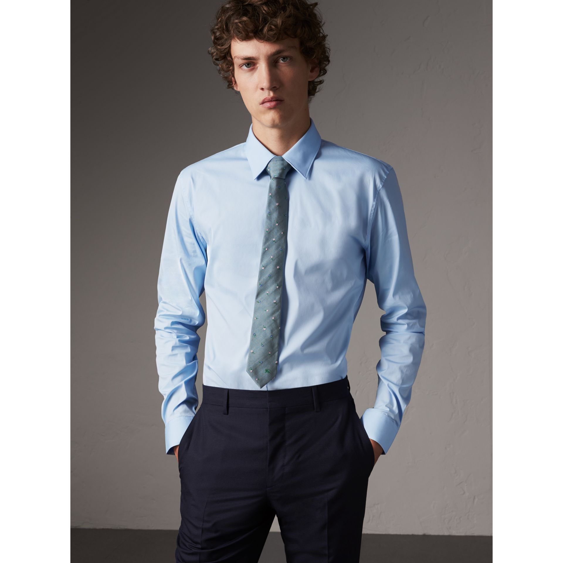 Slim Fit Stretch Cotton Shirt in City Blue - Men | Burberry - gallery image 1