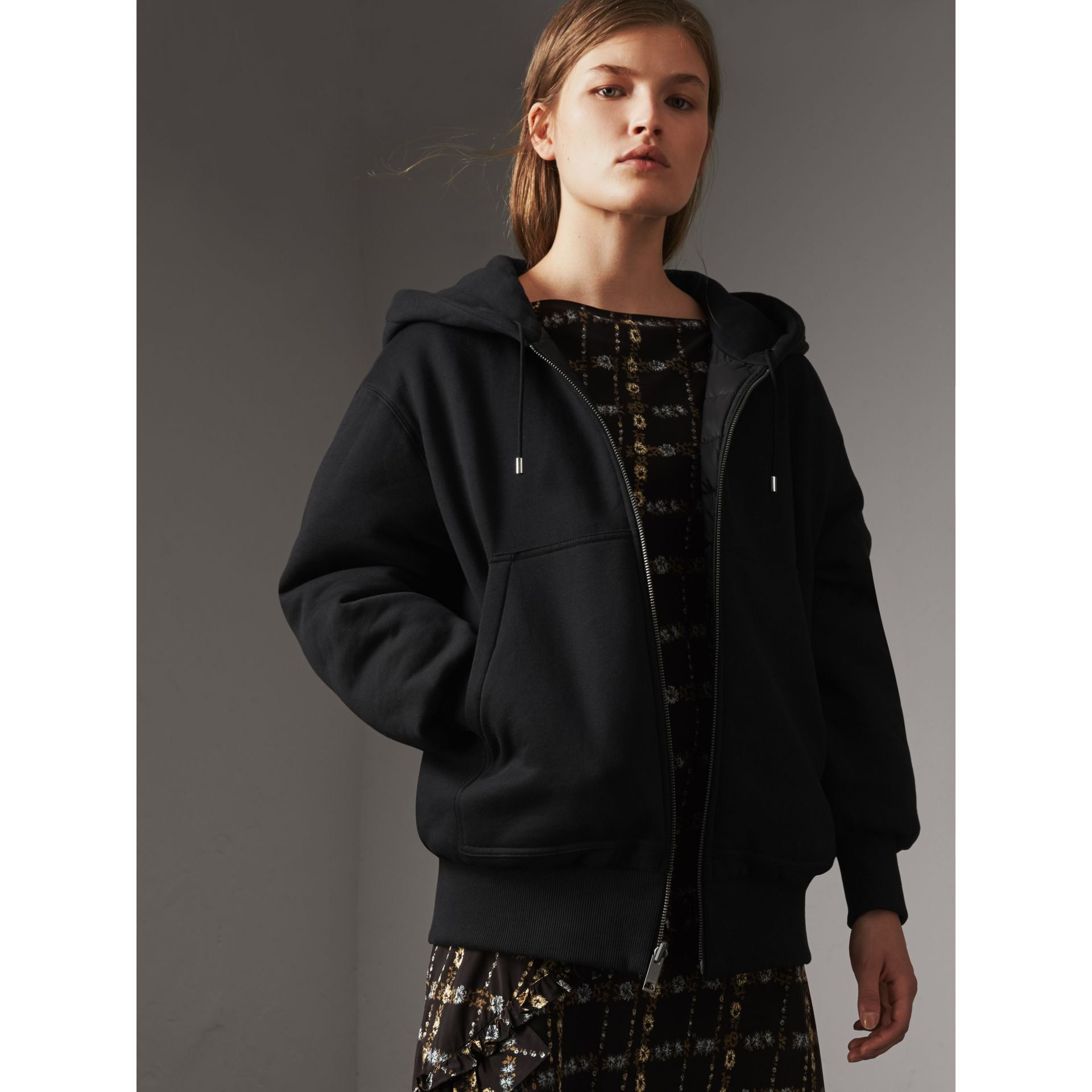 Reversible Down-filled Hooded Bomber Jacket in Black - Women | Burberry - gallery image 6