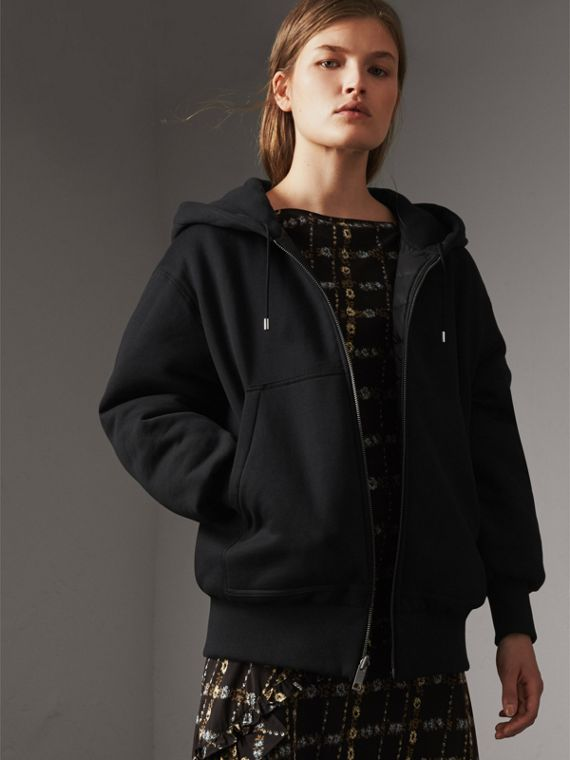 Reversible Down-filled Hooded Bomber Jacket in Black