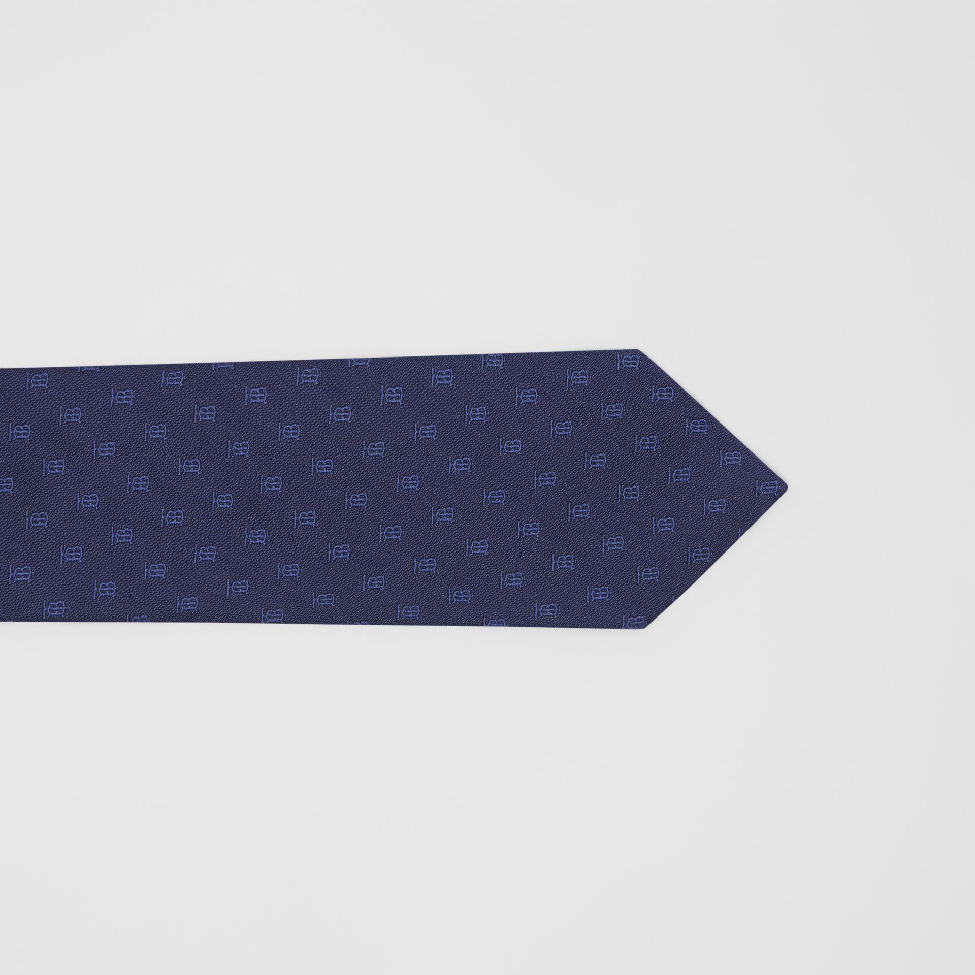 Classic Cut Monogram Motif Silk Jacquard Tie in Navy - Men | Burberry - gallery image 1