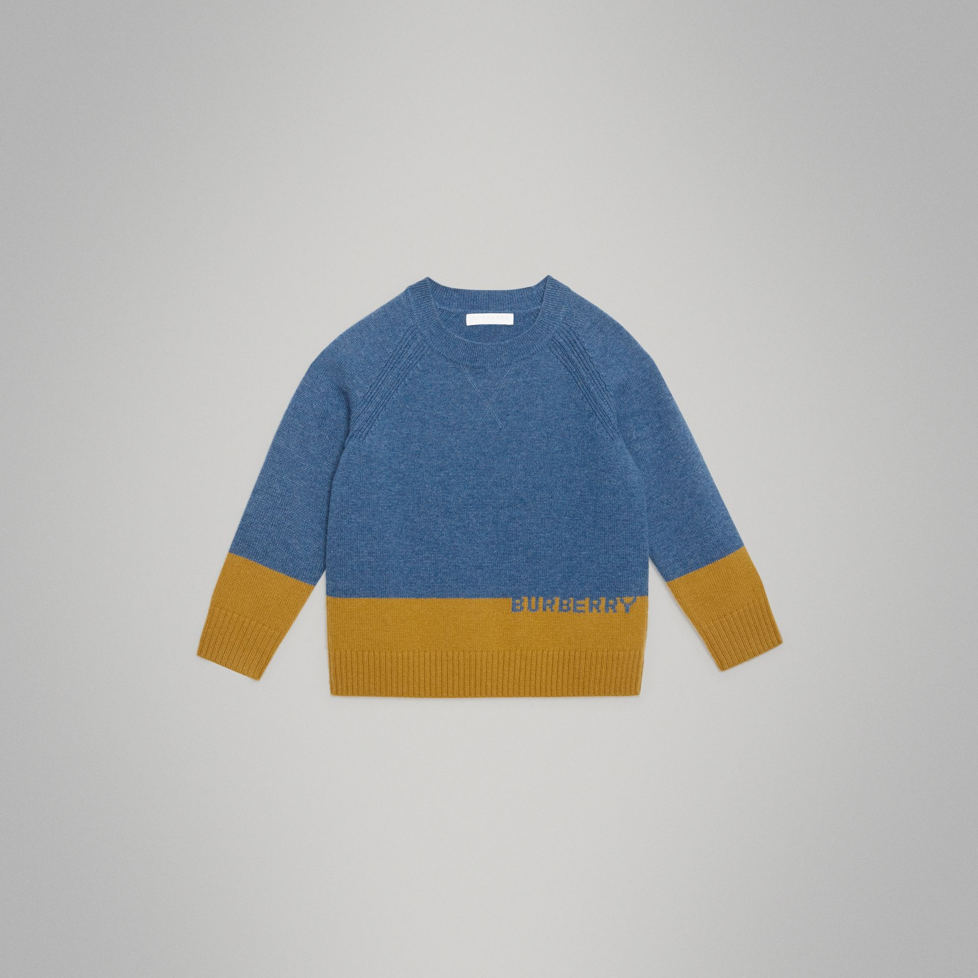 Logo Intarsia Cashmere Sweater in Dusty Blue Melange - Boy | Burberry - gallery image 0