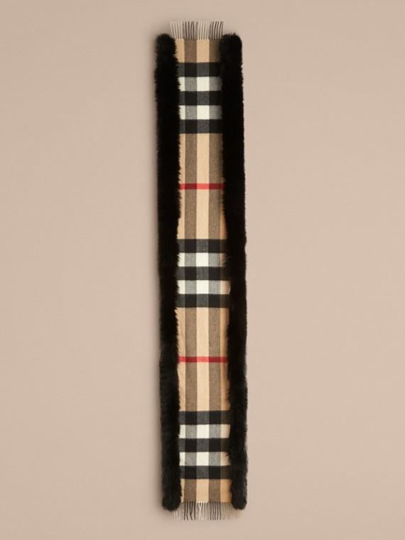 Camel/black Fur-trimmed Check Cashmere Scarf - cell image 3