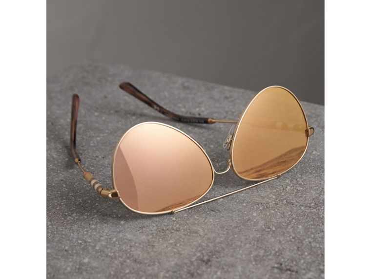 Check Detail Mirrored Pilot Sunglasses in Rose Gold - Women | Burberry Canada - cell image 2