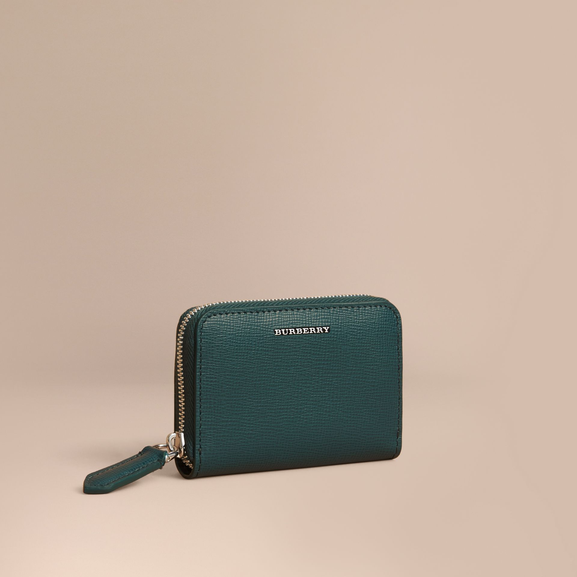 London Leather Ziparound Coin Case in Dark Teal | Burberry - gallery image 1