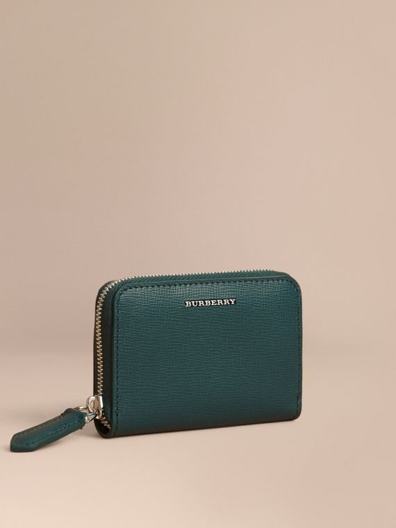 London Leather Ziparound Coin Case in Dark Teal | Burberry