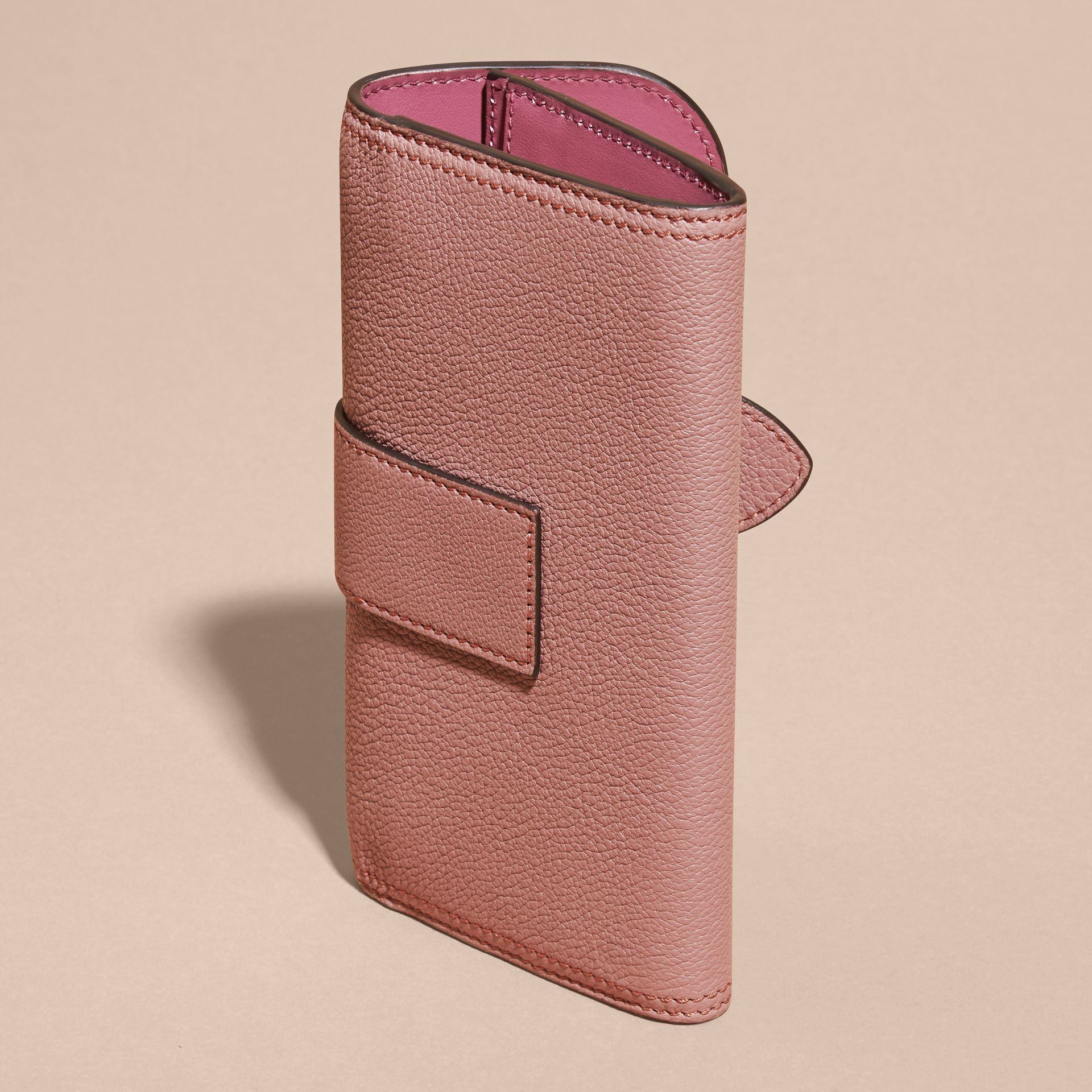 Dusty pink Textured Leather Continental Wallet Dusty Pink - gallery image 4
