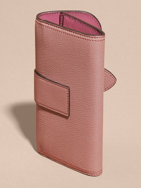 Dusty pink Textured Leather Continental Wallet Dusty Pink - cell image 3
