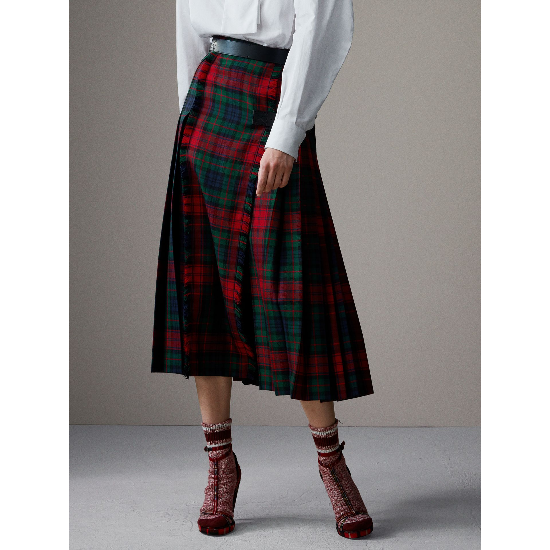 Tartan Wool High-waisted Kilt in Bright Red - Women | Burberry Singapore - gallery image 7