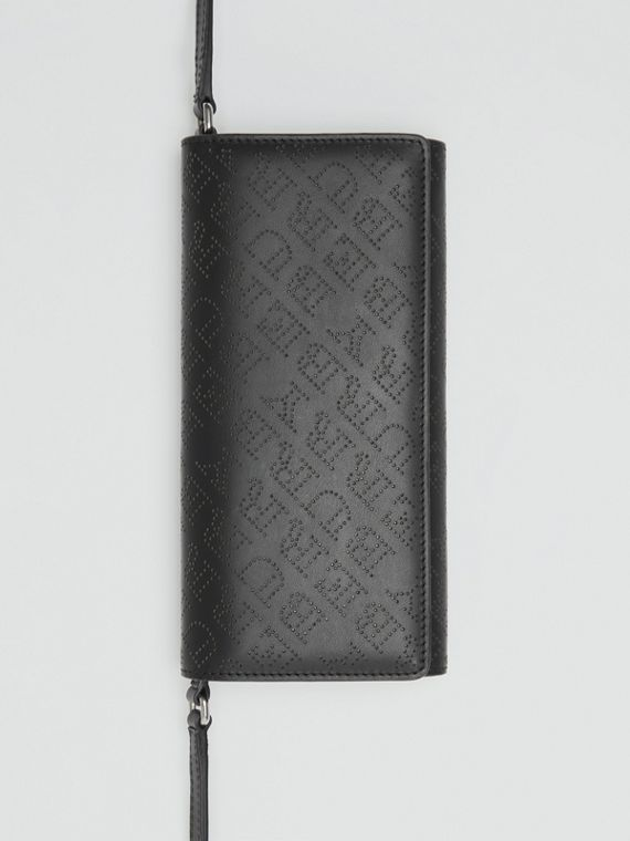 Perforated Logo Leather Wallet with Detachable Strap in Black