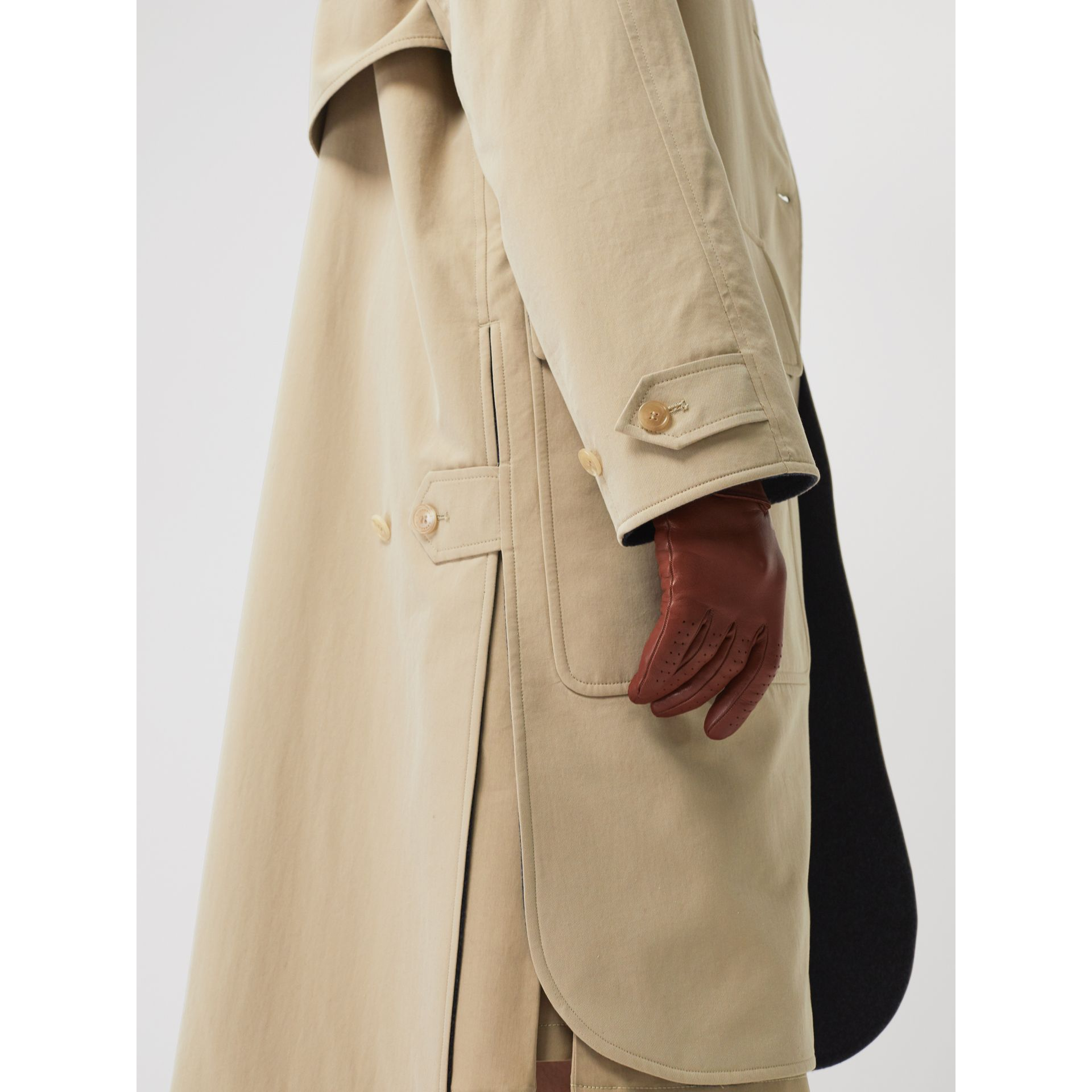 Wool-lined Tropical Gabardine Car Coat in Honey - Women | Burberry Canada - gallery image 4