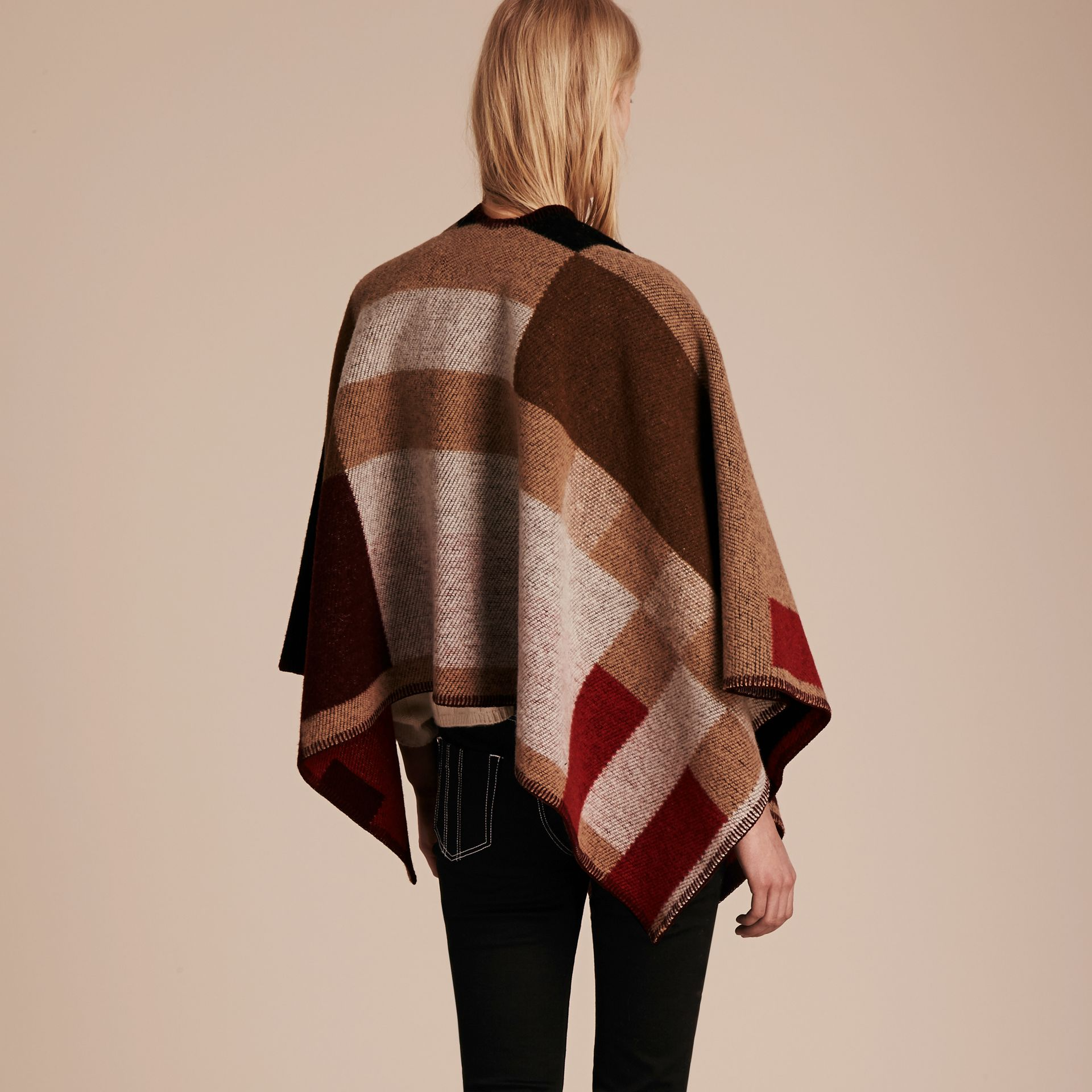 Camel Check Wool Cashmere Poncho - gallery image 3