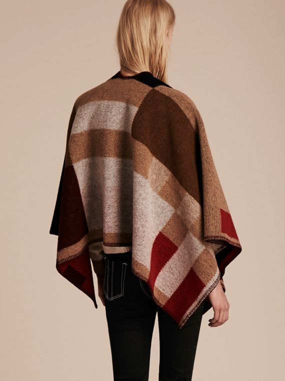 Camel Check Wool Cashmere Poncho - cell image 2