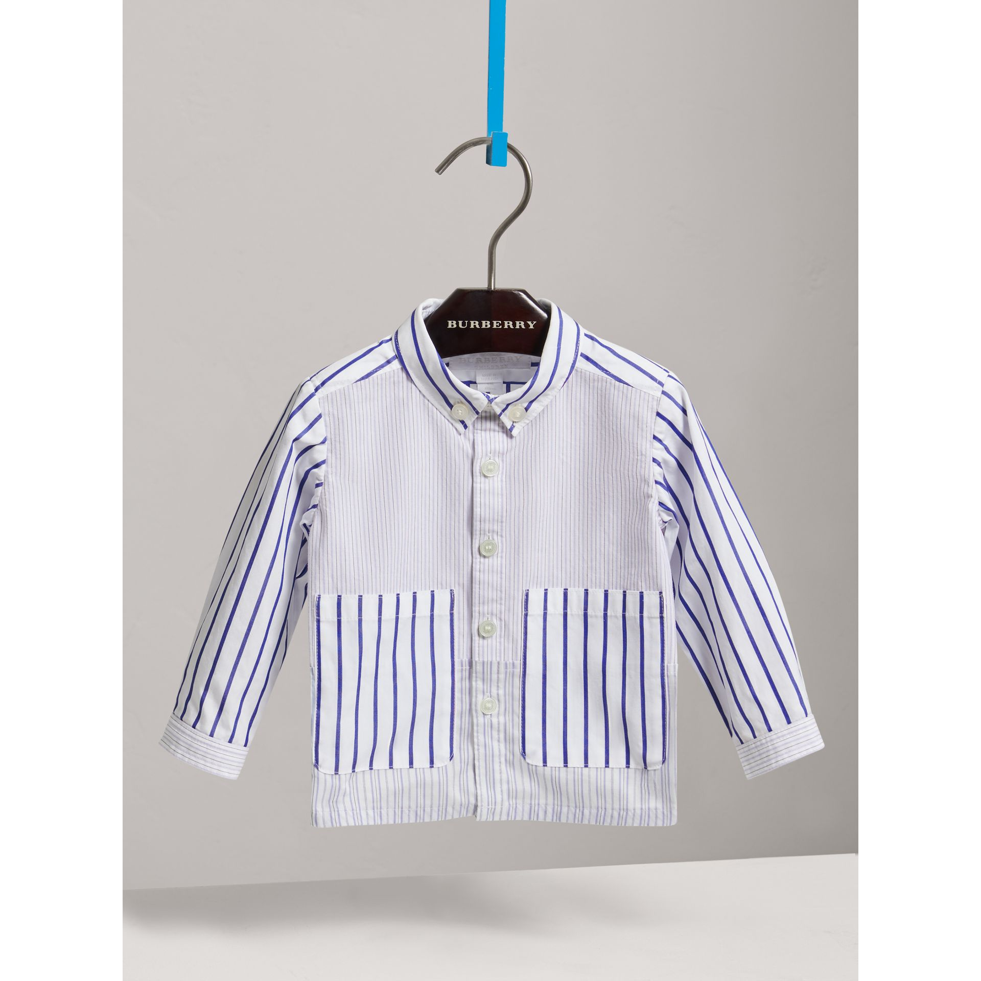 Contrast Stripe Button-down Collar Cotton Shirt in Light Blue | Burberry United Kingdom - gallery image 0