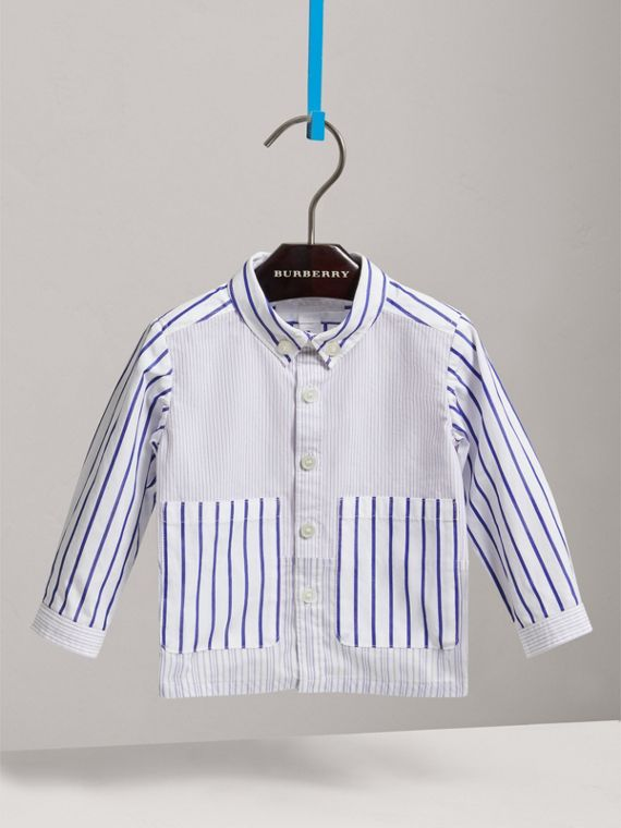 Contrast Stripe Button-down Collar Cotton Shirt in Light Blue