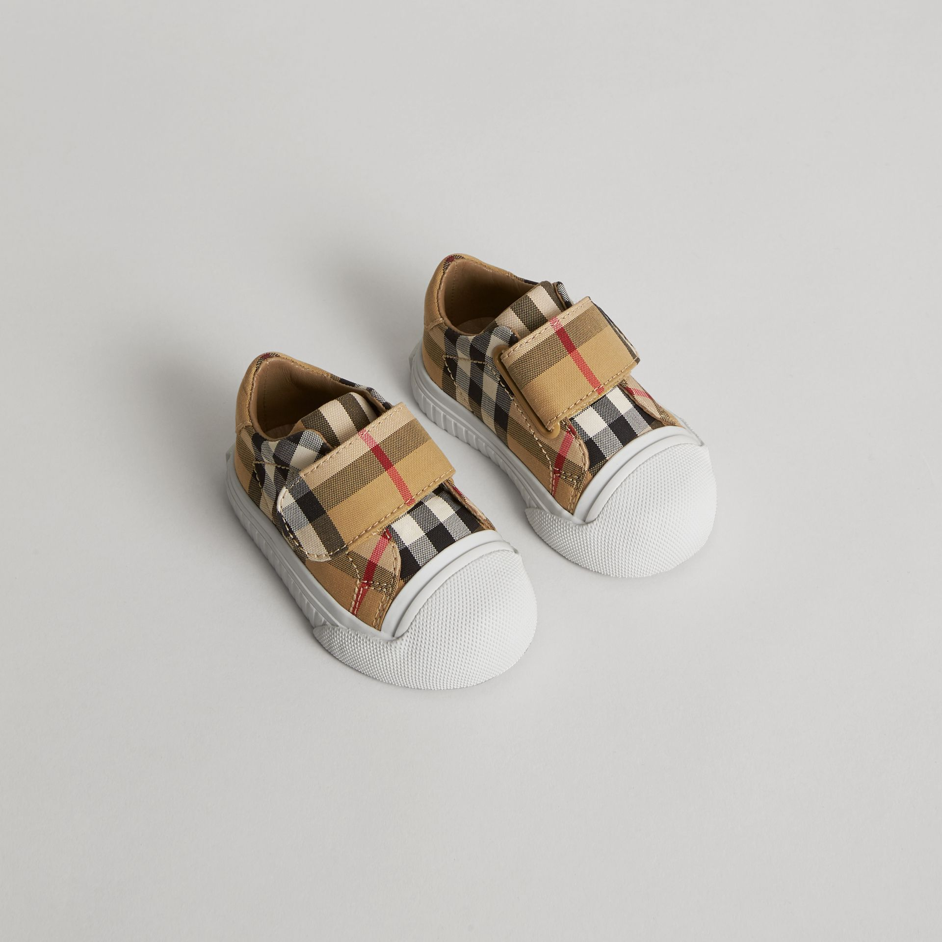 Vintage Check and Leather Sneakers in Antique Yellow/optic White - Children | Burberry - gallery image 0