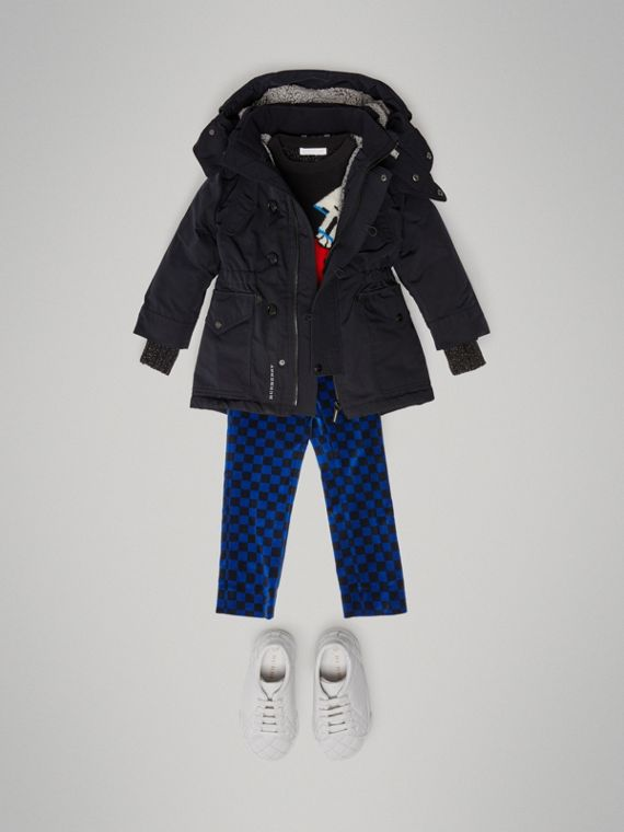 Detachable Hood Down-filled Parka Coat in Navy