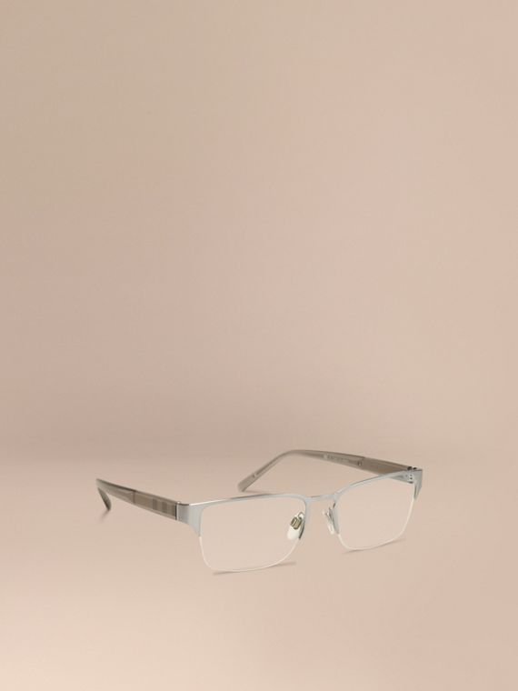 Check Detail Rectangular Optical Frames Brushed Silver