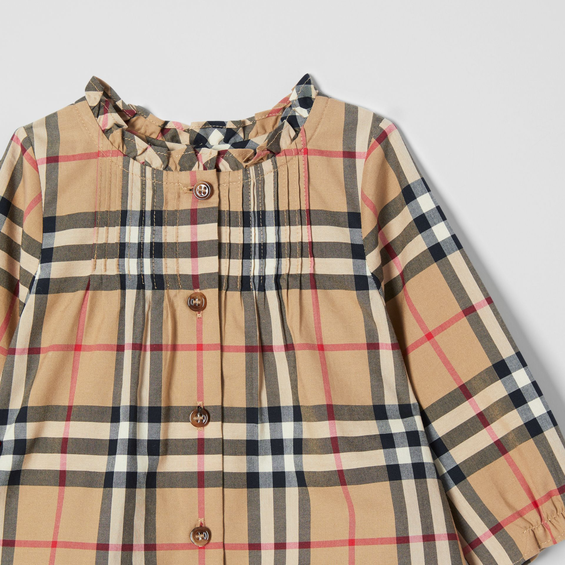 Vintage Check Cotton Dress with Bloomers in Archive Beige - Children   Burberry United Kingdom - gallery image 4