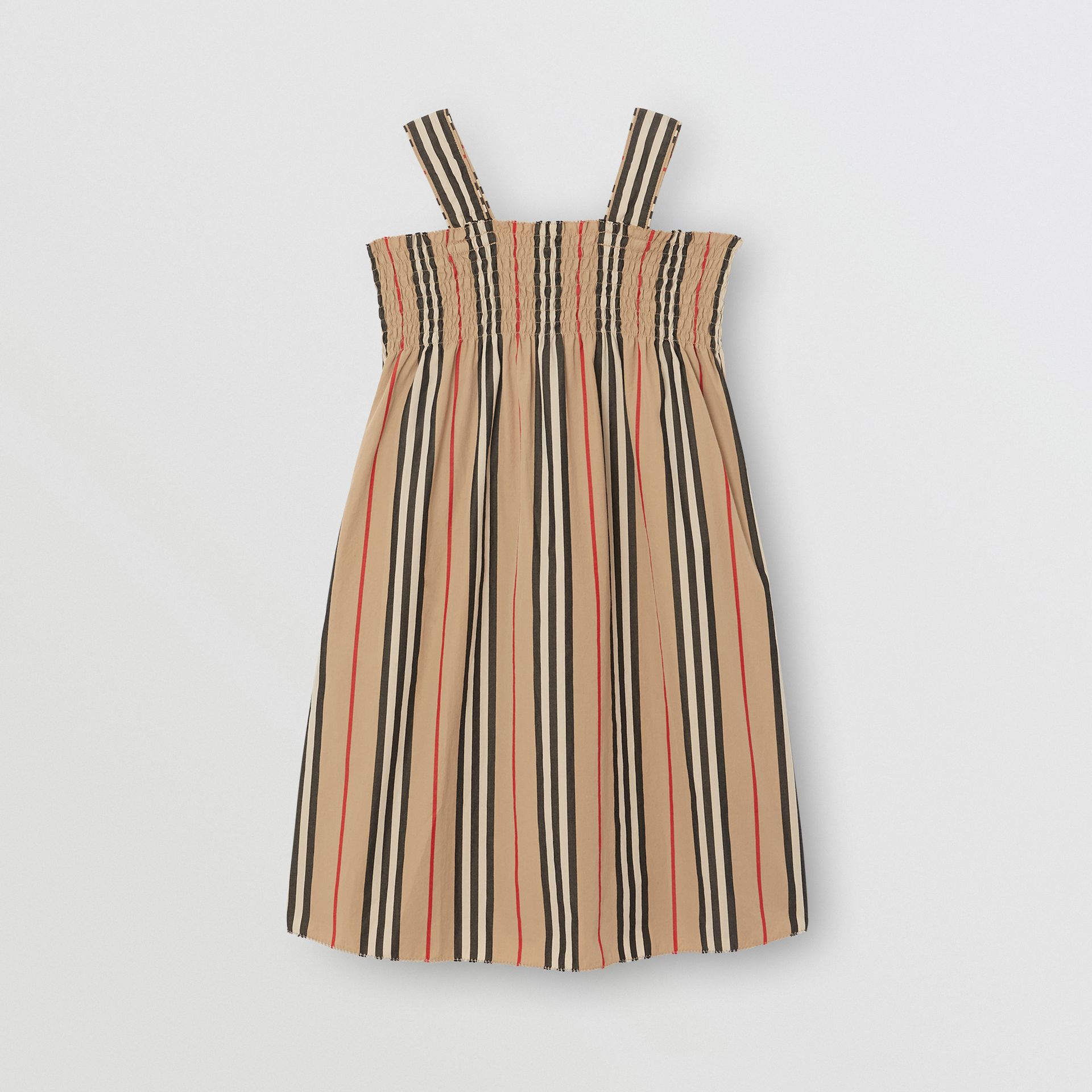Smocked Icon Stripe Cotton Dress in Archive Beige | Burberry - gallery image 0