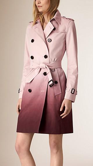 Trench coat en algodón con efecto degradado