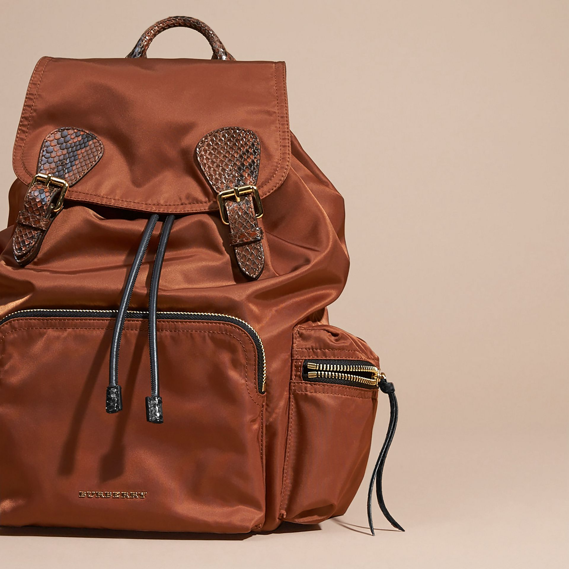 The Large Rucksack in Technical Nylon and Snakeskin in Redwood/tan - gallery image 6