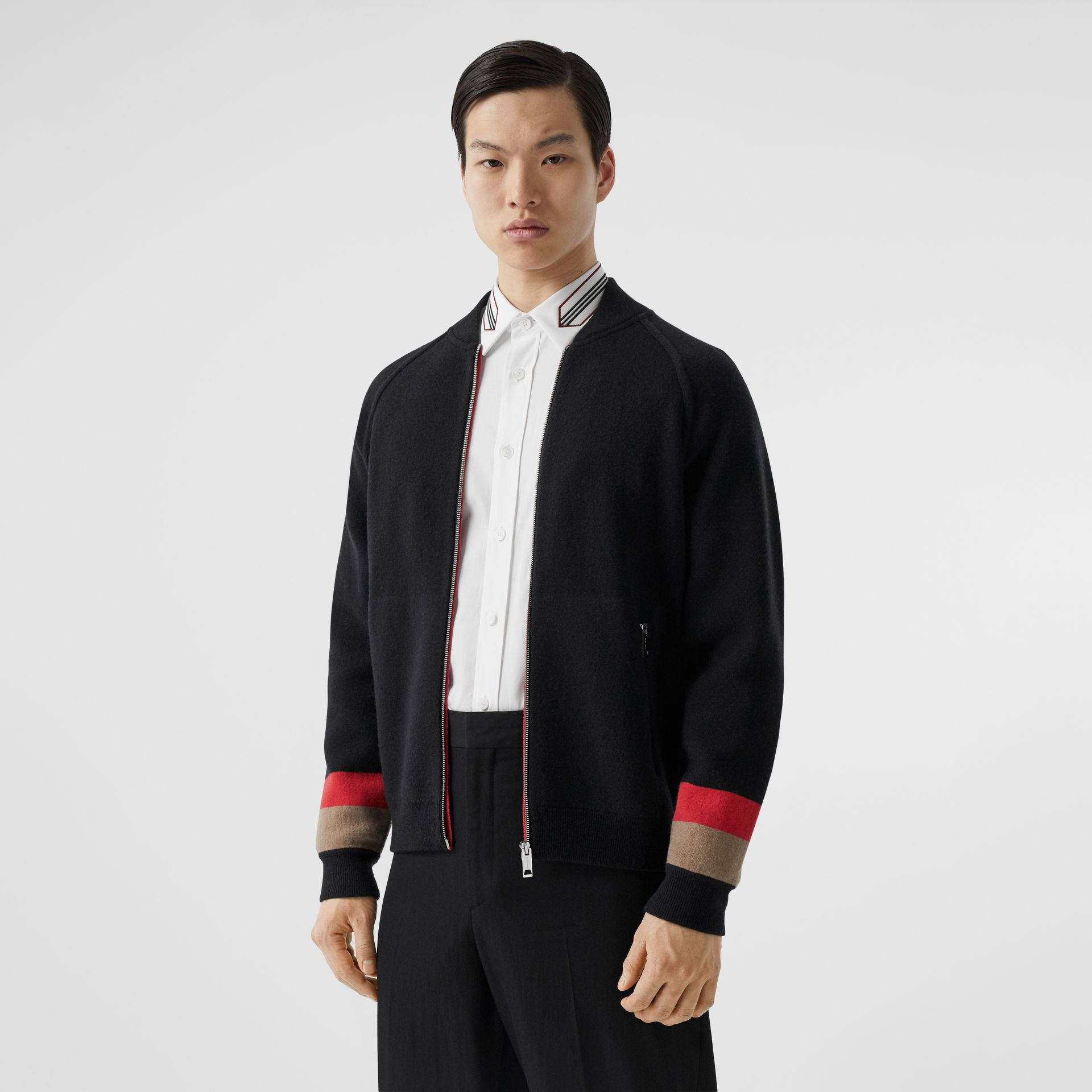 Double-faced Wool Cashmere Blend Bomber Jacket in Black | Burberry - gallery image 5