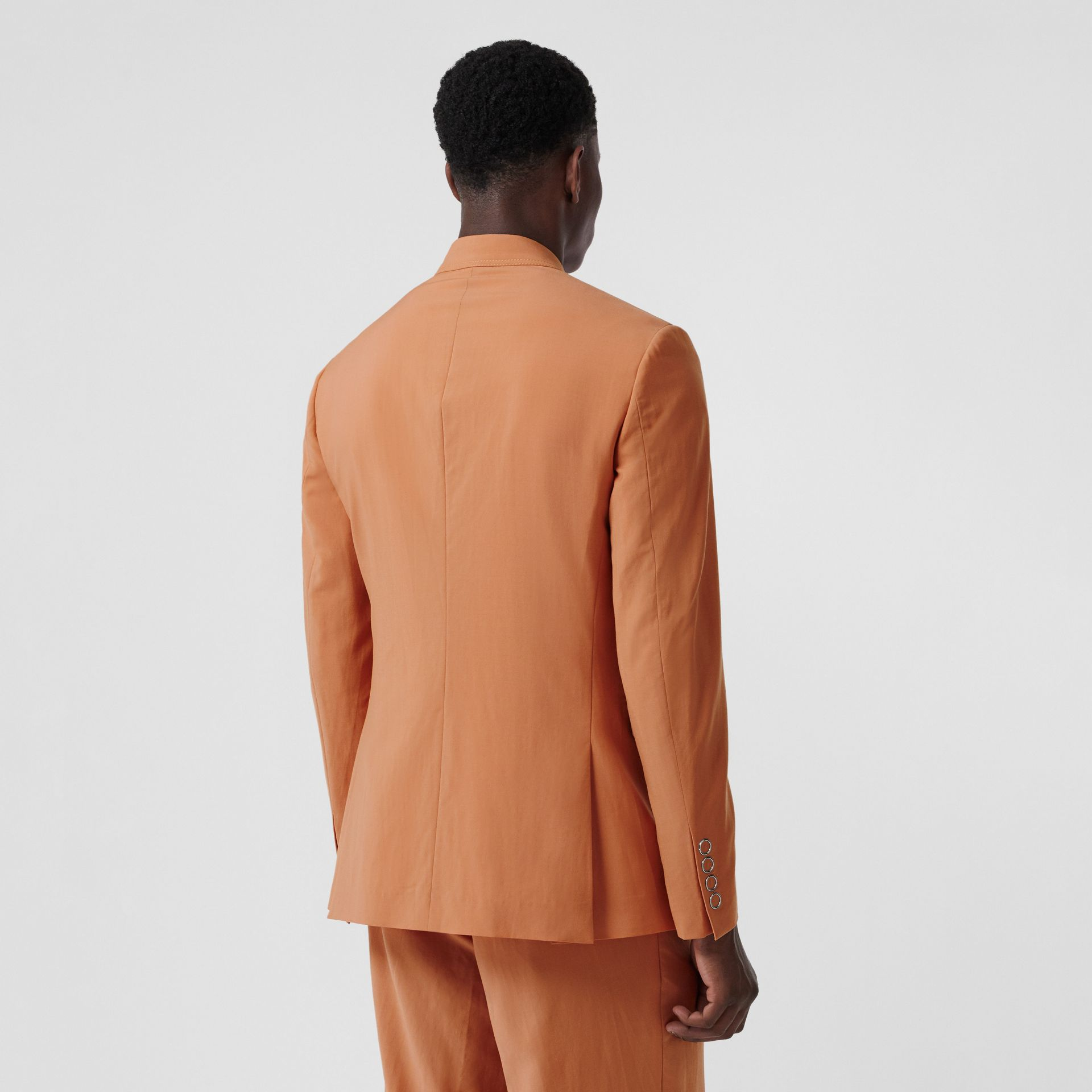 Slim Fit Press-stud Wool Tailored Jacket in Orange | Burberry Australia - gallery image 2