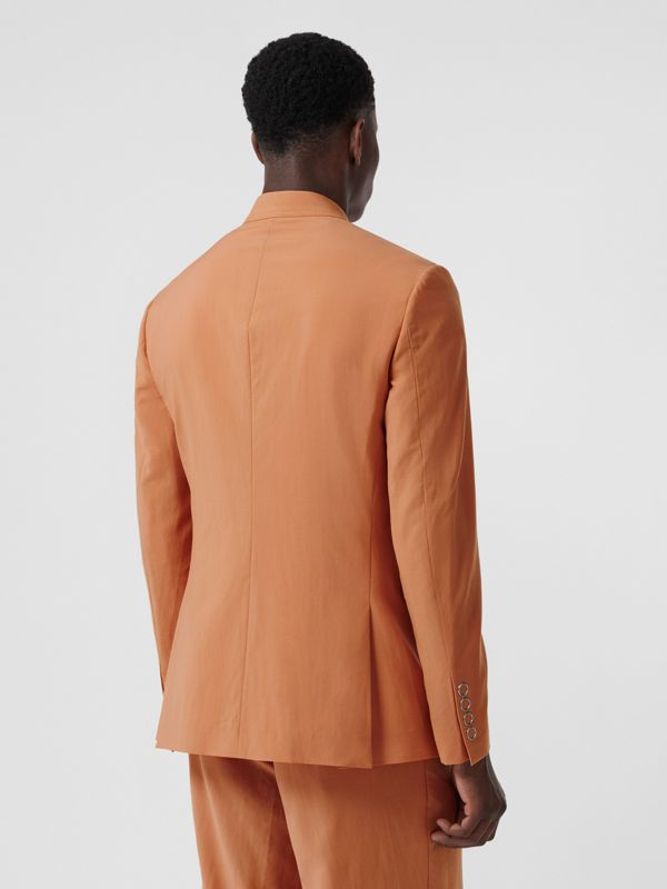 Slim Fit Press-stud Wool Tailored Jacket in Orange | Burberry - cell image 2