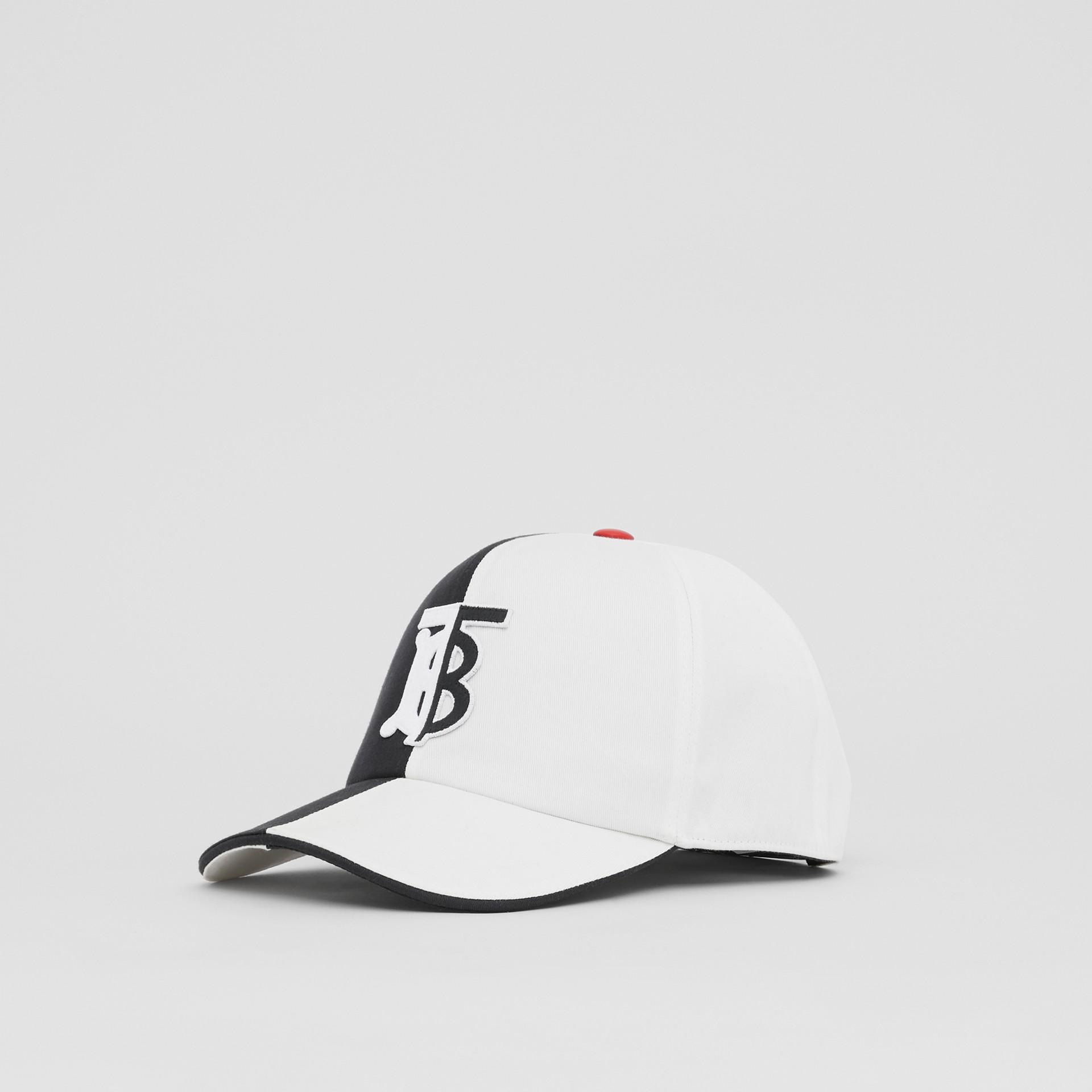 花押字圖案雙色調棉質棒球帽 (黑色/白色) | Burberry - 圖庫照片 4